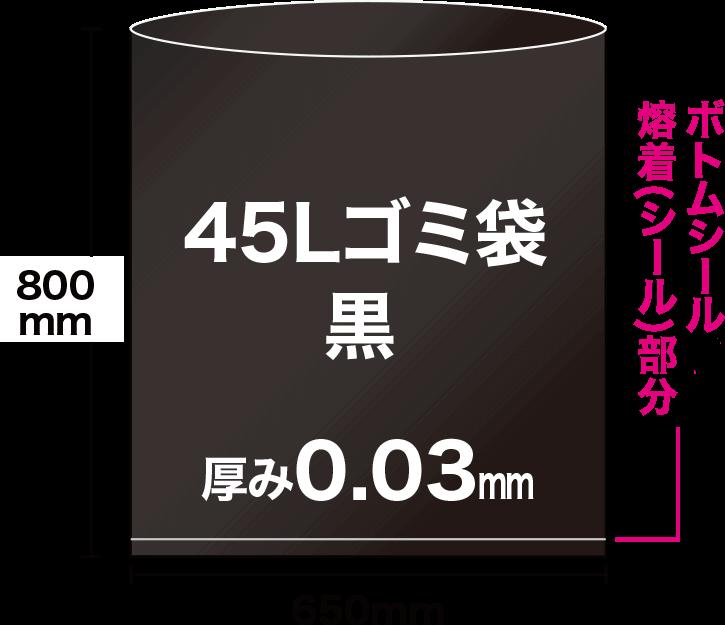 45Lの黒ゴミ袋は、ヨコ65cm×タテ80cmで、袋の底にボトムシール溶着(シール)部分があります。