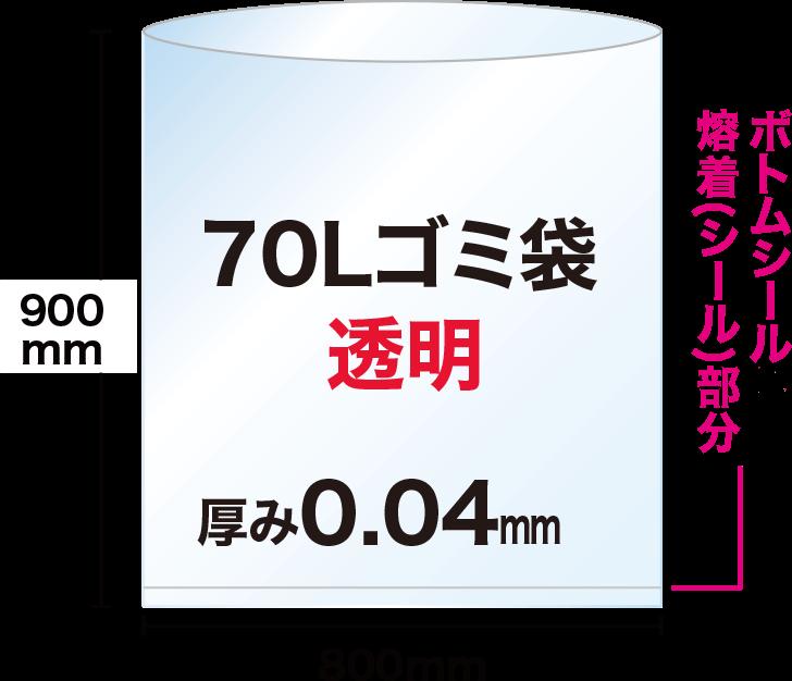 70Lの透明ゴミ袋は、ヨコ80cm×タテ90cmで、袋の底にボトムシール溶着(シール)部分があります。