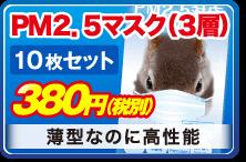 PM2.5マスク(3層) 10枚セット 380円(税別) 薄型なのに高性能