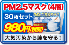 PM2.5マスク(4層) 30枚セット 980円(税別) 大気汚染から肺を守る!